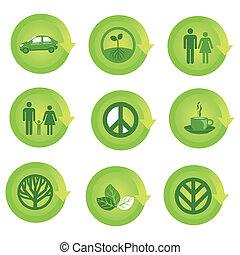 ekologiczny, komplet, strzała ikona