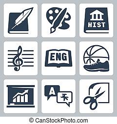 ekonomika, szkoła, ikony, historia, języki, obcokrajowy, pe, wektor, angielski, kunszty, muzyka, motywy, literatura, sztuka, set: