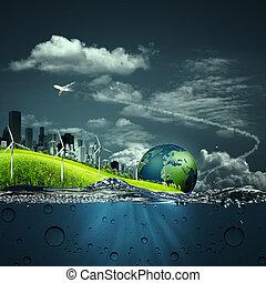 ekosystem, abstrakcyjny, tła, twój, projektować