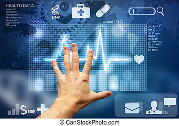 ekran, dotykanie, dane, medyczny, ręka