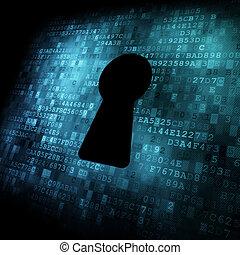 ekran, dziurka od klucza, bezpieczeństwo, concept:, cyfrowy