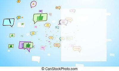 ekran, przelotny, bańki, mądry, towarzyski