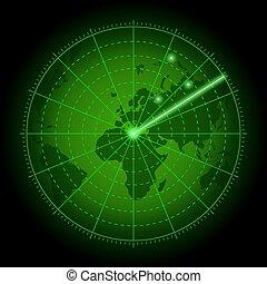 ekran, zielony, świat, map., radar