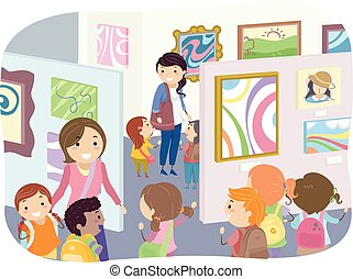 eksponat, stickman, dzieciaki, sztuka