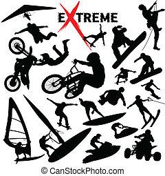 ekstremum, sylwetka, wektor, sport