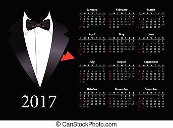 elegancki, amerykanka, wektor, garnitur, kalendarz, 2017