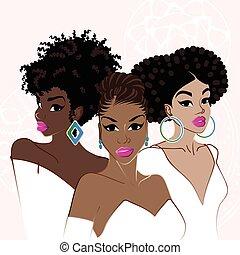 elegancki, ciemny-obielany, trzej kobiety