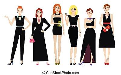 elegancki, czarnoskóry, pociągający, stroje, kobiety