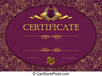 elegancki, dyplom, szablon, świadectwo
