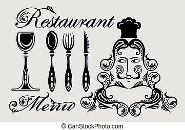 elegancki, restauracja, karta, menu