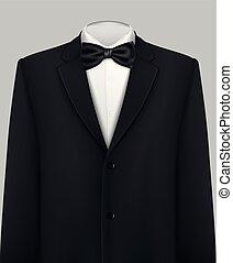 elegancki, smoking, garnitur, krawat, łuk