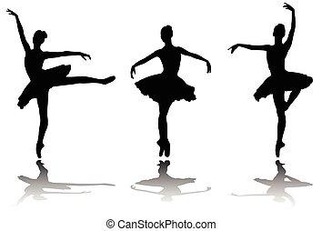 elegancki, sylwetka, baleriny