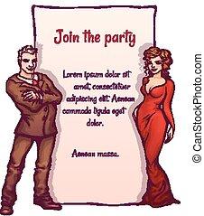 elegancki, wektor, partia, ilustracja, zaproszenie