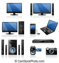 elektronika, ikony, komputery