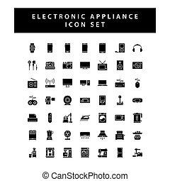 elektronowy, ikona, kolor, czarnoskóry, komplet, przyrządy, dom, glyph, styl, design.