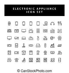 elektronowy, ikona, kolor, czarnoskóry, szkic, komplet, przyrządy, dom, styl, design.