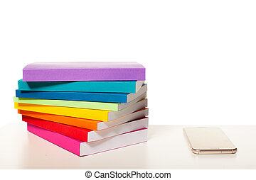 elektronowy, stół, smartphone, biblioteka