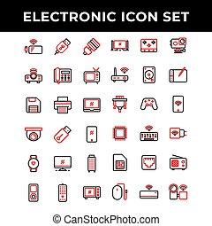elektronowy, telefon, ikona, piec, jazda, komplet, moc, gracz, bank, obejmować