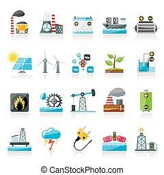 elektryczność, źródło, energia, ikony