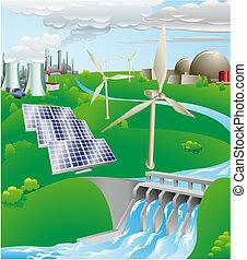 elektryczność, produkcja, moc, ilustracja