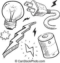 elektryczność, rys, obiekty