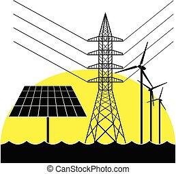 elektryczność, turbines., słoneczny, pylon, wiatr, poduszeczka