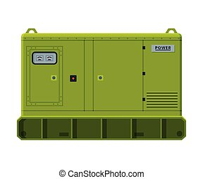 elektryczny, ilustracja, diesel, nieruchomy, generator, maszyna, przemysłowy, dostarczcie energii elektrycznej zaopatrzenie, wektor