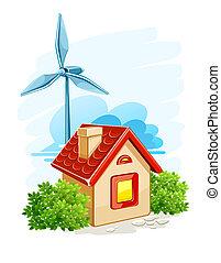 elektryczny, produkcja, dom, energia, turbina, wiatr