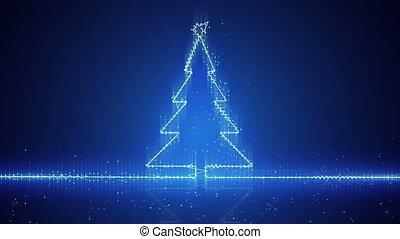 elektryczny, techno drzewo, boże narodzenie, machać