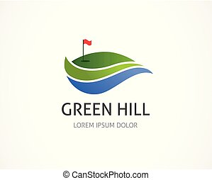 element, klub, symbol, logo, ikona, golf