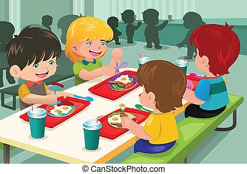 elementarny, bar samoobsługowy, jedzenie, studenci, lunch