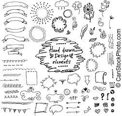 elements:ornaments, komplet, floral., wektor, projektować, ręka, pociągnięty