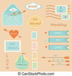 elementy, ślub, komplet, pocztowy, wektor