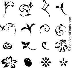 elementy, 01, kwiatowy, wystawiany zamiar
