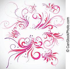 elementy, collection., abstrakcyjny, ozdoba, wektor, projektować, kwiatowy