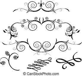 elementy, dekoracyjny, kwiatowy zamiar
