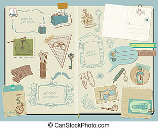 elementy, doodle, -, przybory, zbiór, ręka, wektor, projektować, album na wycinki, pociągnięty, gentlemen's