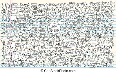 elementy, doodle, wystawiany zamiar, notatnik