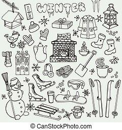 elementy, doodle, zima, ikony