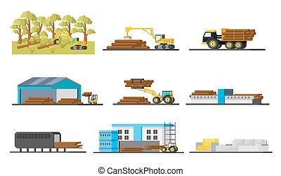 elementy, drewno, produkcja, zbiór