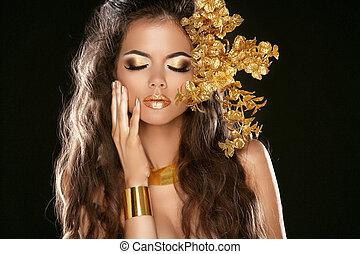 elementy, dziewczyna, fason, makeup., piękno, czarnoskóry, style., dekoracyjny, moda, odizolowany, jewelry., hairstyle., złoty, tło.