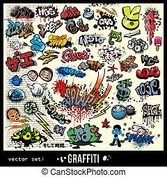 elementy, graffiti, komplet, wektor