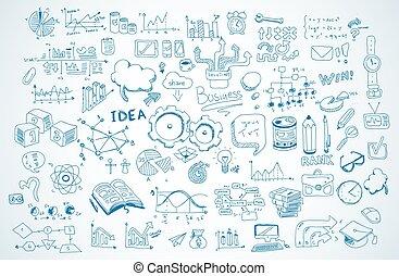 elementy, handlowy, komplet, wektor, infographics, rys, doodles, shapes., :, odizolowany