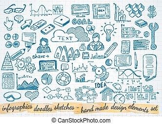 elementy, handlowy, odizolowany, komplet, infographics, rys, doodles, :