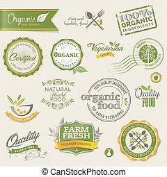 elementy, jadło, organiczny, etykiety