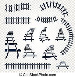 elementy, komplet, drabina, zbiór, odizolowany, sztachety, górny, curvy, tło., wektor, ilustracje, kolej żelazna, biały, prosty, prospekt