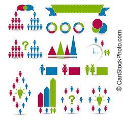 elementy, komplet, infographic, projektować, ludzki