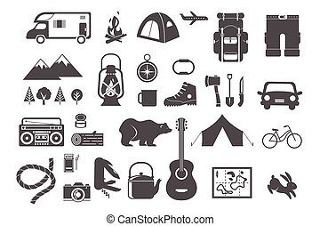 elementy, obozowanie, ikony, hiking, -, komplet