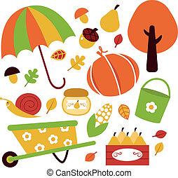 elementy, odizolowany, komplet, jesień, ogród, biały