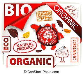 elementy, organiczny, eco, bio, komplet, czerwony